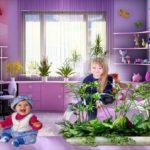 Комнатные растения в детской комнате.
